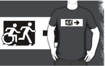 Accessible Means of Egress Icon Exit Sign Wheelchair Wheelie Running Man Symbol by Lee Wilson PWD Disability Emergency Evacuation Adult T-shirt 70