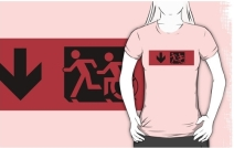 Accessible Means of Egress Icon Exit Sign Wheelchair Wheelie Running Man Symbol by Lee Wilson PWD Disability Emergency Evacuation Adult T-shirt 7