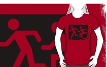 Accessible Means of Egress Icon Exit Sign Wheelchair Wheelie Running Man Symbol by Lee Wilson PWD Disability Emergency Evacuation Adult T-shirt 71