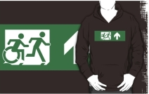 Accessible Means of Egress Icon Exit Sign Wheelchair Wheelie Running Man Symbol by Lee Wilson PWD Disability Emergency Evacuation Adult T-shirt 72