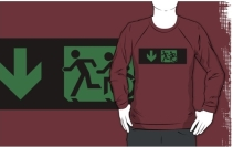 Accessible Means of Egress Icon Exit Sign Wheelchair Wheelie Running Man Symbol by Lee Wilson PWD Disability Emergency Evacuation Adult T-shirt 73