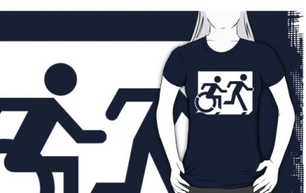 Accessible Means of Egress Icon Exit Sign Wheelchair Wheelie Running Man Symbol by Lee Wilson PWD Disability Emergency Evacuation Adult T-shirt 74