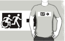 Accessible Means of Egress Icon Exit Sign Wheelchair Wheelie Running Man Symbol by Lee Wilson PWD Disability Emergency Evacuation Adult T-shirt 75