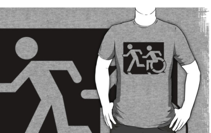 Accessible Means of Egress Icon Exit Sign Wheelchair Wheelie Running Man Symbol by Lee Wilson PWD Disability Emergency Evacuation Adult T-shirt 76