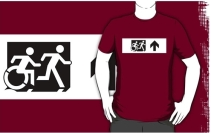 Accessible Means of Egress Icon Exit Sign Wheelchair Wheelie Running Man Symbol by Lee Wilson PWD Disability Emergency Evacuation Adult T-shirt 77