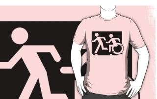 Accessible Means of Egress Icon Exit Sign Wheelchair Wheelie Running Man Symbol by Lee Wilson PWD Disability Emergency Evacuation Adult T-shirt 78
