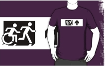 Accessible Means of Egress Icon Exit Sign Wheelchair Wheelie Running Man Symbol by Lee Wilson PWD Disability Emergency Evacuation Adult T-shirt 79