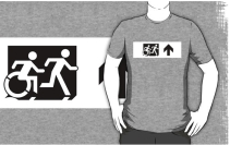 Accessible Means of Egress Icon Exit Sign Wheelchair Wheelie Running Man Symbol by Lee Wilson PWD Disability Emergency Evacuation Adult T-shirt 80