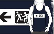 Accessible Means of Egress Icon Exit Sign Wheelchair Wheelie Running Man Symbol by Lee Wilson PWD Disability Emergency Evacuation Adult T-shirt 8