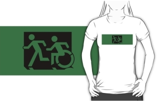 Accessible Means of Egress Icon Exit Sign Wheelchair Wheelie Running Man Symbol by Lee Wilson PWD Disability Emergency Evacuation Adult T-shirt 81