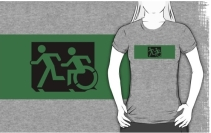 Accessible Means of Egress Icon Exit Sign Wheelchair Wheelie Running Man Symbol by Lee Wilson PWD Disability Emergency Evacuation Adult T-shirt 82