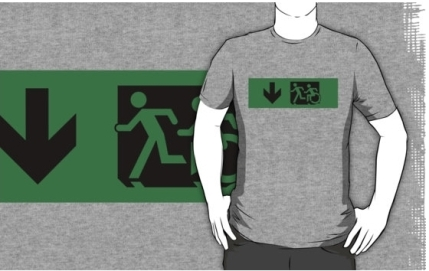 Accessible Means of Egress Icon Exit Sign Wheelchair Wheelie Running Man Symbol by Lee Wilson PWD Disability Emergency Evacuation Adult T-shirt 83