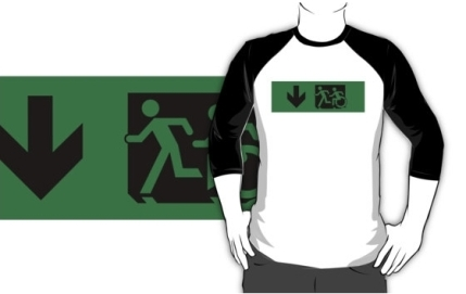 Accessible Means of Egress Icon Exit Sign Wheelchair Wheelie Running Man Symbol by Lee Wilson PWD Disability Emergency Evacuation Adult T-shirt 84