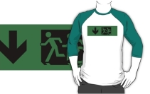 Accessible Means of Egress Icon Exit Sign Wheelchair Wheelie Running Man Symbol by Lee Wilson PWD Disability Emergency Evacuation Adult T-shirt 85