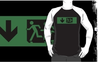 Accessible Means of Egress Icon Exit Sign Wheelchair Wheelie Running Man Symbol by Lee Wilson PWD Disability Emergency Evacuation Adult T-shirt 86
