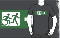 Accessible Means of Egress Icon Exit Sign Wheelchair Wheelie Running Man Symbol by Lee Wilson PWD Disability Emergency Evacuation Adult T-shirt 87