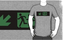 Accessible Means of Egress Icon Exit Sign Wheelchair Wheelie Running Man Symbol by Lee Wilson PWD Disability Emergency Evacuation Adult T-shirt 88