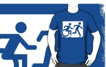 Accessible Means of Egress Icon Exit Sign Wheelchair Wheelie Running Man Symbol by Lee Wilson PWD Disability Emergency Evacuation Adult T-shirt 89
