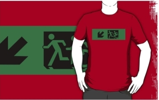 Accessible Means of Egress Icon Exit Sign Wheelchair Wheelie Running Man Symbol by Lee Wilson PWD Disability Emergency Evacuation Adult T-shirt 90
