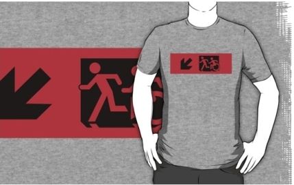 Accessible Means of Egress Icon Exit Sign Wheelchair Wheelie Running Man Symbol by Lee Wilson PWD Disability Emergency Evacuation Adult T-shirt 9