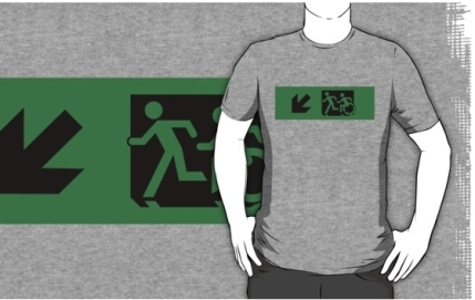 Accessible Means of Egress Icon Exit Sign Wheelchair Wheelie Running Man Symbol by Lee Wilson PWD Disability Emergency Evacuation Adult T-shirt 91