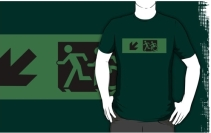 Accessible Means of Egress Icon Exit Sign Wheelchair Wheelie Running Man Symbol by Lee Wilson PWD Disability Emergency Evacuation Adult T-shirt 92