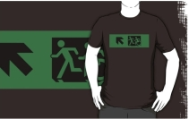 Accessible Means of Egress Icon Exit Sign Wheelchair Wheelie Running Man Symbol by Lee Wilson PWD Disability Emergency Evacuation Adult T-shirt 93