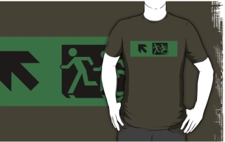 Accessible Means of Egress Icon Exit Sign Wheelchair Wheelie Running Man Symbol by Lee Wilson PWD Disability Emergency Evacuation Adult T-shirt 94