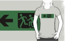 Accessible Means of Egress Icon Exit Sign Wheelchair Wheelie Running Man Symbol by Lee Wilson PWD Disability Emergency Evacuation Adult T-shirt 95
