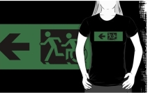 Accessible Means of Egress Icon Exit Sign Wheelchair Wheelie Running Man Symbol by Lee Wilson PWD Disability Emergency Evacuation Adult T-shirt 96