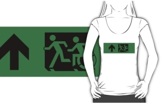 Accessible Means of Egress Icon Exit Sign Wheelchair Wheelie Running Man Symbol by Lee Wilson PWD Disability Emergency Evacuation Adult T-shirt 97