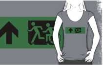 Accessible Means of Egress Icon Exit Sign Wheelchair Wheelie Running Man Symbol by Lee Wilson PWD Disability Emergency Evacuation Adult T-shirt 98