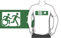 Accessible Means of Egress Icon Exit Sign Wheelchair Wheelie Running Man Symbol by Lee Wilson PWD Disability Emergency Evacuation Adult T-shirt 99