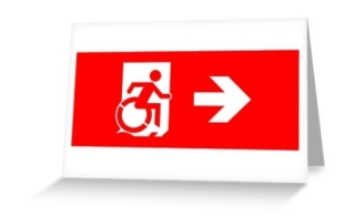Accessible Means of Egress Icon Exit Sign Wheelchair Wheelie Running Man Symbol by Lee Wilson PWD Disability Emergency Evacuation Greeting Card 10