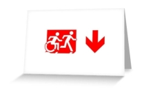 Accessible Means of Egress Icon Exit Sign Wheelchair Wheelie Running Man Symbol by Lee Wilson PWD Disability Emergency Evacuation Greeting Card 100