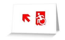 Accessible Means of Egress Icon Exit Sign Wheelchair Wheelie Running Man Symbol by Lee Wilson PWD Disability Emergency Evacuation Greeting Card 101