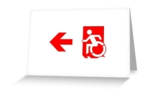 Accessible Means of Egress Icon Exit Sign Wheelchair Wheelie Running Man Symbol by Lee Wilson PWD Disability Emergency Evacuation Greeting Card 102
