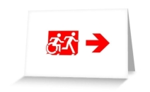 Accessible Means of Egress Icon Exit Sign Wheelchair Wheelie Running Man Symbol by Lee Wilson PWD Disability Emergency Evacuation Greeting Card 103