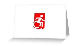 Accessible Means of Egress Icon Exit Sign Wheelchair Wheelie Running Man Symbol by Lee Wilson PWD Disability Emergency Evacuation Greeting Card 104