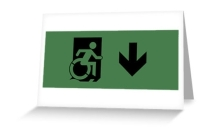Accessible Means of Egress Icon Exit Sign Wheelchair Wheelie Running Man Symbol by Lee Wilson PWD Disability Emergency Evacuation Greeting Card 105