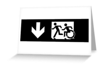 Accessible Means of Egress Icon Exit Sign Wheelchair Wheelie Running Man Symbol by Lee Wilson PWD Disability Emergency Evacuation Greeting Card 106