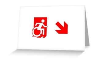 Accessible Means of Egress Icon Exit Sign Wheelchair Wheelie Running Man Symbol by Lee Wilson PWD Disability Emergency Evacuation Greeting Card 107