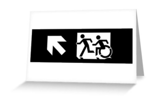 Accessible Means of Egress Icon Exit Sign Wheelchair Wheelie Running Man Symbol by Lee Wilson PWD Disability Emergency Evacuation Greeting Card 108