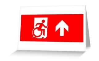 Accessible Means of Egress Icon Exit Sign Wheelchair Wheelie Running Man Symbol by Lee Wilson PWD Disability Emergency Evacuation Greeting Card 11