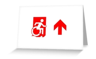 Accessible Means of Egress Icon Exit Sign Wheelchair Wheelie Running Man Symbol by Lee Wilson PWD Disability Emergency Evacuation Greeting Card 110