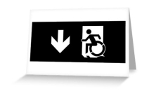 Accessible Means of Egress Icon Exit Sign Wheelchair Wheelie Running Man Symbol by Lee Wilson PWD Disability Emergency Evacuation Greeting Card 111