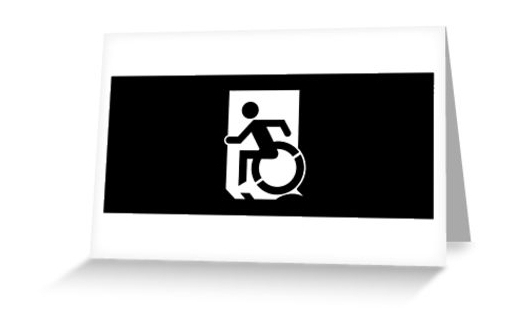 Accessible Means of Egress Icon Exit Sign Wheelchair Wheelie Running Man Symbol by Lee Wilson PWD Disability Emergency Evacuation Greeting Card 112