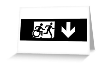 Accessible Means of Egress Icon Exit Sign Wheelchair Wheelie Running Man Symbol by Lee Wilson PWD Disability Emergency Evacuation Greeting Card 113