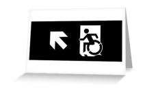 Accessible Means of Egress Icon Exit Sign Wheelchair Wheelie Running Man Symbol by Lee Wilson PWD Disability Emergency Evacuation Greeting Card 114