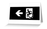 Accessible Means of Egress Icon Exit Sign Wheelchair Wheelie Running Man Symbol by Lee Wilson PWD Disability Emergency Evacuation Greeting Card 115